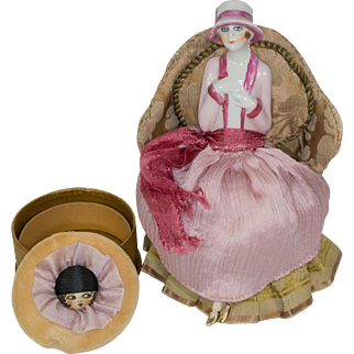 SALE Extraordinary German Fasold & Stauch Half Doll with Legs Away on Powder Box with Powder Puff