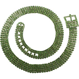 Vintage Light Green Rhinestone Ladies Jeweled Belt
