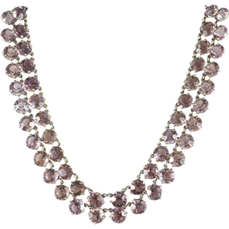 REDUCED Sparkling Pink Vintage Unsigned Art Deco Necklace
