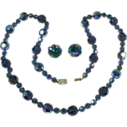 Vogue Jewelry's Midnight Blue Aurora Borealis Glass Necklace and Earrings