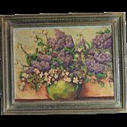 Vintage Oil Painting Purple Lilacs Dogwood Branches Floral Bouquet Still Life