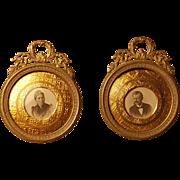 SALE Antique Pair of Miniature Picture Frames for portrait ornate wreaths