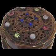 "SALE Vintage Jeweled ""E & JB Empire Art Gold "" Compact 1920's"