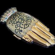 SOLD Vintage Volupte Gay Nineties Black Lace Mitt Compact figural shape Golden Gesture Hand