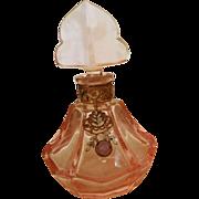 SALE Vintage 1920's Czech  Pink Jeweled Perfume Bottle w/ Dauber intact made in Czecholsovakia