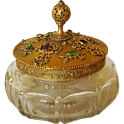 "SALE 1920's Jeweled Powder Jar ""E & J B Empire Art Gold"" ormolu filigree gilt"