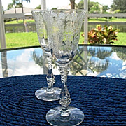 Cambridge Rose Point 2 Wine Glasses  2.5 oz.