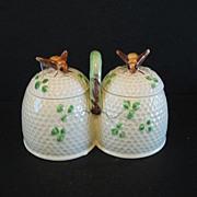 SALE Bee Honey Jam Jar with Spoons Ceramic Japan