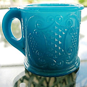 SALE Toy Cup Opaque Blue EAPG  Grape Medallion