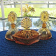 SALE Amber 3 pc. Vanity Set New Martinsville Glass