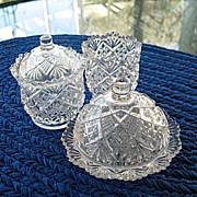 Toy Table Set Thumbelina aka Flattened Diamond Sunburst 1890