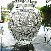 Cut Glass Vase 6 in. Bulbous Body