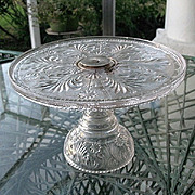 Stippled Daisy Rotating Gallery Pedestal Cake Stand 1880s