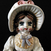 SALE Musical Doll Plays Fascination Lefton 1983 Porcelain