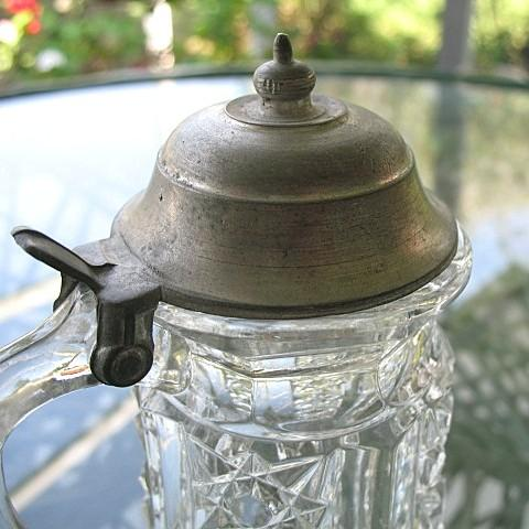 Antique Syrup Pitcher Metal Lid Clover Pattern Duncan