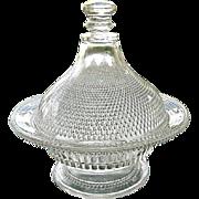 Antique Dewdrop with Star Pedestal Butter Dish 1877