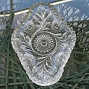 SOLD Hobstar & Feather Olive Pickle Dish Millersburg Glass 1909