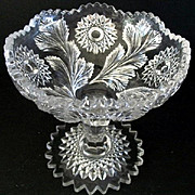 Hobstar & Feather Short Open Compote Millersburg Glass 1909