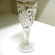 Heart with Thumbprint 2 Small Vases Tarentum Glass EAPG