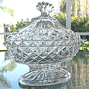 Covered Oval Sawtooth Footed Candy Dish  7 in. Long