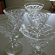 Tiffin 5 Cut Crystal Stemmed Liquor Cocktail Glasses