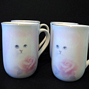 SALE Otagiri 4  Cups Cat with Pink Rose Bone China Made in Japan