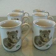 Otagiri Set 6  Cute Koala Bone China Cups 1980s