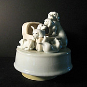 Music Box Mom with Litter of Puppies Summit 1991