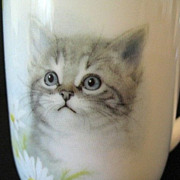 Otagiri-Harrison Cup Gray Tabby Kitten with Daisies 1980s Spring Fever