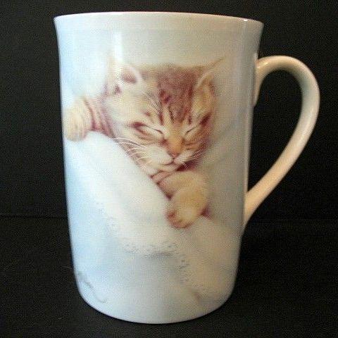 Sleeping Tabby  2 Cups Otagiri-Harrison 1980s