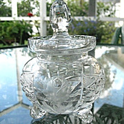 Hand Cut Lead Crystal Condiment Jar with Spoon Slot Vintage