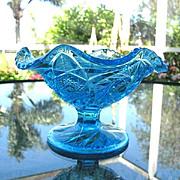SALE Pedestal Bowl McKee Aztec Pattern Colonial Blue