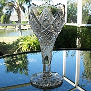 Imperial Crystal Chalice Vase Marked Ornate Pattern