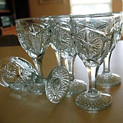 Stemmed 6 Shot Sorbet  Glasses Blue Mogul Variant 1904 Imperial