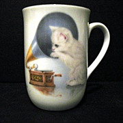Cup Bone China Otagiri Cat with Phonograph Made in Japan