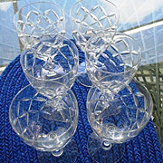 Water Goblets  6 Cut Crystal Criss-Cross Twist Stems