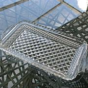 Cranberry Tray Wexford Diamond Pressed Glass