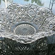 Bowl Clear Ruffle Sawtooth Rim Pressed Glass