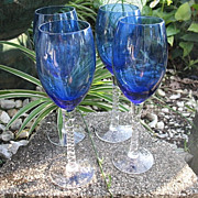 Cobalt 4  Wine Goblets 3 Water Goblets 8 Inch Clear Twist Stem