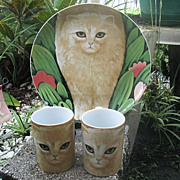 Chloe Cat Plates and Cups 2 Each Martin Leman