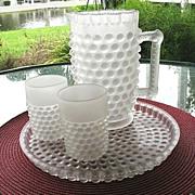 SALE Antique Satin Glass 4 Pc Water Set 1886 Dewdrop