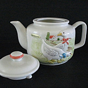 SALE Country Kitchen Teapot Otagiri Ribboned Geese 1983 Ceramics