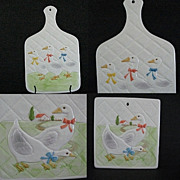 Country Kitchen Ribboned Geese Pair Trivets Otagiri 1983