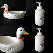 Country Kitchen Ribboned Geese Soap Dispenser and Scrubby Holder