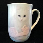 Bone China 4 Cups Otagiri White Kitten Ballet Shoe