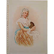 Lithograph- Beauty In Powdered Wig From The Colonial Era Of The Late 1700's