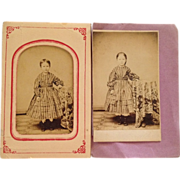 SOLD Carte De Visite- CWE Young Sisters, Becky and Emmy, In Hoop Dresses With Pantalets