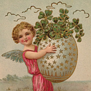 SOLD Easter Angel Postcard With Starry Egg Full Of Shamrocks