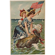 SOLD Patriotic Bathing Beauties Waving Stars And Stripes