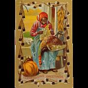 Black Americana Postcard- Thanksgiving Dinner With Turkey On The Menu